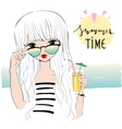 beautiful romantic girl on beach vector image vector image