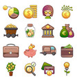 business icons set cartoon style vector image