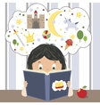 Child Reading Book vector image vector image