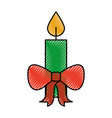 christmas candle red bow burning celebration vector image vector image