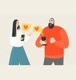 couple exchanges valentines on social networks vector image