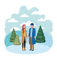 couple with winter clothes and winter pine avatar vector image vector image