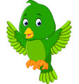 cute green bird cartoon vector image