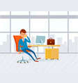 employee at workplace in office drinking coffee vector image vector image