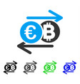 euro bitcoin change flat icon vector image