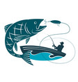 fish jumping for bait and a fisherman in a boat vector image vector image