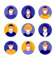 flat modern minimal avatar icons with medical mask vector image vector image