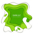 green abstract layout - paper cut vector image