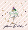 happy birthday cacti cake card vector image
