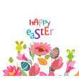 happy easter card with a lettering and cartoon vector image vector image
