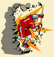 hockey player breaks a wall winter sport vector image vector image
