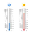 hot and cold weather temperature symbols vector image vector image