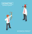 Isometric businessman shoot an apple on colleague vector image vector image