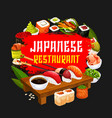 japanese restaurant sushi and rolls vector image