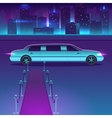Limousine with a red carpet at night in vector image vector image