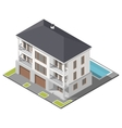 Modern three storey house with slant roof sometric vector image vector image