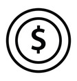 money coin icon with outline style vector image vector image