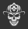 monochrome vintage fireman skull in helmet vector image