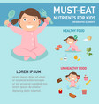 must-eat nutrients for kids infographics vector image vector image