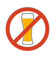 no alcohol sign prohibiting alcohol beverages vector image vector image