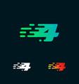 number 4 modern speed shapes logo design vector image