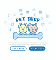 pet shop concept cat and dog hug bone vector image