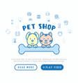 pet shop concept cat and dog hug bone vector image vector image