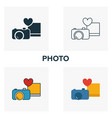 photo icon set four elements in diferent styles vector image vector image
