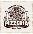 pizza emblem logo badge or label vector image