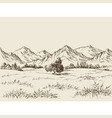 prairie and mountains panorama vector image vector image