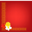 red background with pattern and flower vector image vector image