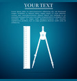 ruler and drawing compass icon on blue background vector image