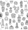 seamless pattern of hand-drawn doodles cacti and vector image