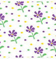 seamless pattern with purple daisy flowers vector image