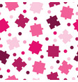 seamless pattern with puzzle pieces in pink shades vector image