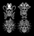 set skull characters isolated on dark background vector image