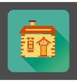 Small wooden house icon flat style vector image vector image