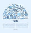travel and vacation concept in half circle vector image vector image
