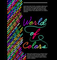 world of colors flyer template with multicolored vector image