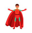 young masked man in a red superhero costume vector image vector image