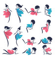 collection of staying and sitting girls look like vector image