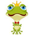 Cute king frog posing vector image