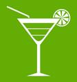 beach cocktail icon green vector image vector image