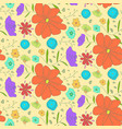 bright warm pattern with sketch colorful flowers vector image vector image
