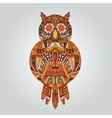 Brown owl in ornamental style for design vector image vector image