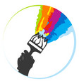 brush with color paint splashes in hand symbol vector image vector image