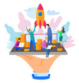 businessman cut ribbon rocket launch vector image