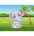 Cartoon funny baby elephant in the jungle vector image