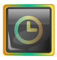 clock grey square icon with yellow and green vector image vector image