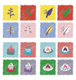 collection of flat shading style icons nature vector image vector image